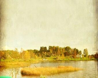 Travel photography, landscape art print, autumn fall colors, vintage inspired decor, Scandinavian art