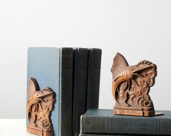 nautical bookends, vintage pressed wood bookends, syroco sailfish book ends