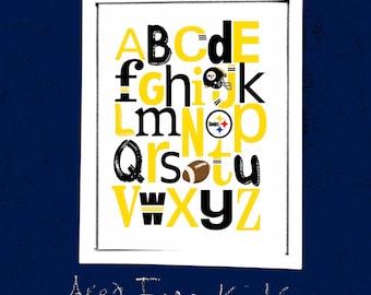 PITTSBURGH STEELERS football ABC Nursery Art Print