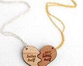 Better Half Best Half Wooden Necklace Set - Laser Cut Wooden Funny Better Half Best Half Couples Necklace Set