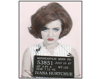 collage, mixed media, paper collage, Mug shot,1960s,roller derby, mid century, Ivana Hurtchue, feminist, fun, silly, pink, photo 8x10