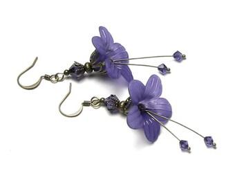 Purple Flower Swarovski Crystal Antique Brass Boho Earrings, Long Purple Flower Earrings, Fantasy Jewelry, Gift for Teen, Hipster Earrings