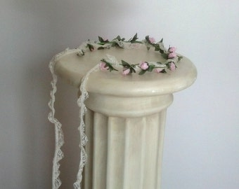 Pink flower crown Baby Photo prop lace hair wreath headband mint green Flower Girl Halo shabby chic Woodland wedding bridal accessories