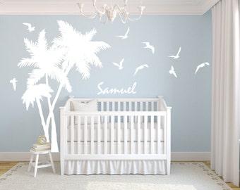 Palm Tree Decal Personalized Name Seagulls Birds Beach Tropical Baby Nursery Vinyl Wall Art