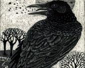 Raven Song Art Print from Scraperboard Original