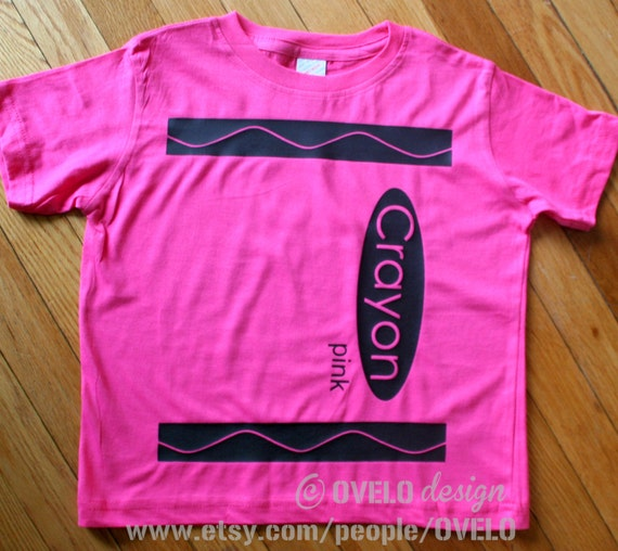 Crayon T Shirt Pick Your Color Pictured in Pink Toddler and Chilren Sizes