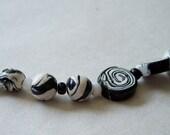Black and White Polymer Bead Set, Swirly Black and White