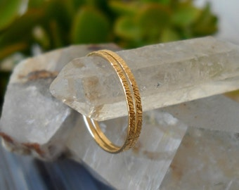 Wedding Rings - Wedding Bands - 14K Solid Yellow Gold Set Of 2 Hammered Textured Wedding - Stack Rings