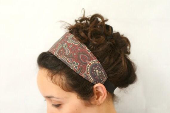 Reversible Fabric Headband /purple boho paisley print and Blue folk