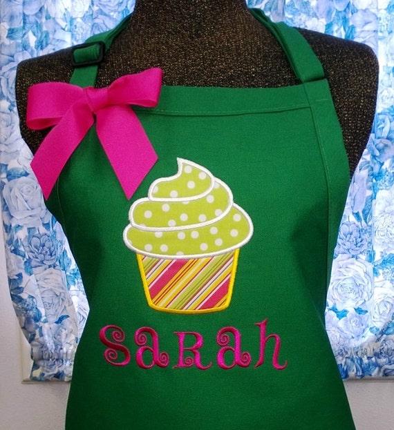 personalized apron cupcake fabric applique