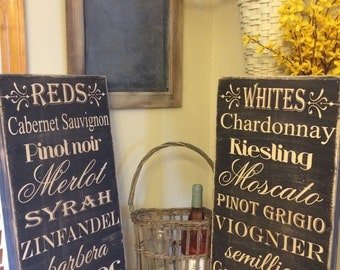 Types of Wine - Subway style art - Great gift - rustic, distressed, wood sign - choose which one