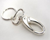 X-large swivel charm holder spring clip clasp for charms, key chains in silver for handbag, purse, backpacks, ornaments, badges, belt loops
