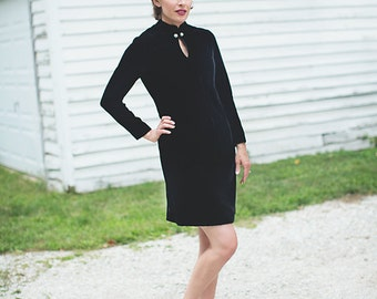 Black Velvet Dress - Black Cocktail Dress - Mad Men Dress - Velvet and Rhinestone - Keyhole Neck - Large Vintage Dress