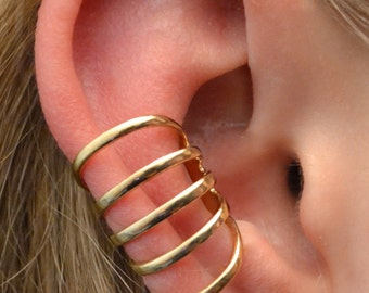 Five Band Wide Spaced Ear Cuff - 14k Gold Vermeil or Sterling Silver-  Single Side