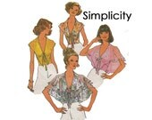 Halter Tops Size 10 1970s cape collars full butterfly sleeves 1975 open back or cape style Simplicity 6945 Misses Sewing Pattern