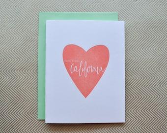 hello from california letterpress card