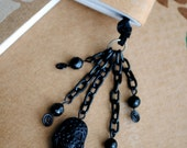 Skull Book Thong Beaded Ribbon Bookmark Black Pirate Chain Day of the Dead Sugar Skull Goth