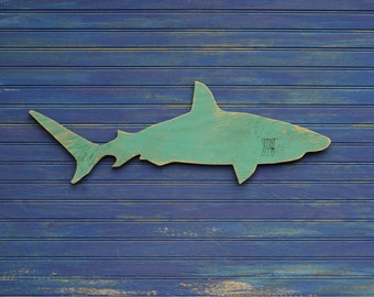 Wood Shark Sign Small Wall Art Mako Shark Sign Beach Coastal Nautical Wooden Sign Indoor or Outdoor