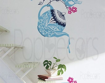 Nature Wall Decal Birds Sticker Tea Sets Decal - Tea Party - Free Squeegee and color change - Kitchen Wall Decal Birds Vinyl Wall Art