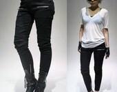 SALE RTBU Punk Rocker Biker Armor Insert Cigarette Skinny Ankle Stretch Denim Jeans