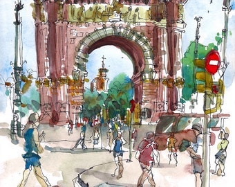 Barcelona, Spain, Arc de Triomf, watercolor sketch- archival print from an original sketch