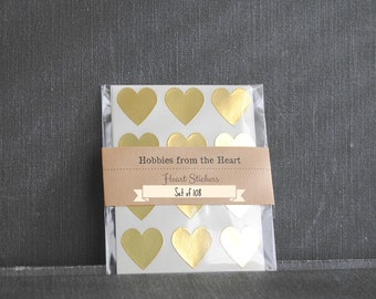 108 Mini Gold Heart Seals / Stickers