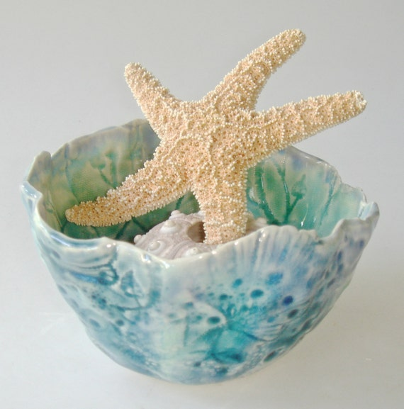 Decorative Ceramic Bowl, ocean inspired, Organic shape serving bowl with coral, seashells and lace texture, teal, turquoise, emerald green