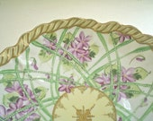 Antique Bowl with Hand Painted Violets and Lattice with Wavy Gold Rim