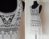 RESERVED - Vintage 1970s Tank Dress - White Crochet Lace Victorian Style Sheer Dress Tunic 70s - Extra Small