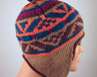 Ear Flap Hat Hand Knitted Wool Multicolor in Jacquard Pattern
