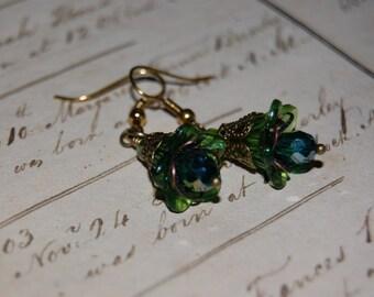 Green Art Nouveau Earrings