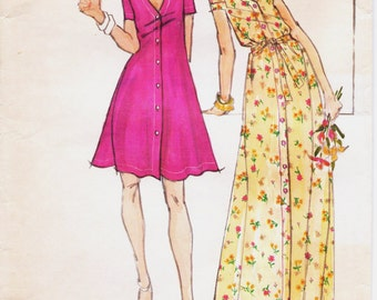1970s John Kloss Womens Tent or Trapeze Dress Mini or Maxi Dress Butterick Sewing Pattern 3704 Size 12 Bust 34 Stretch Knits Only