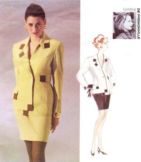 90s Myrene de Premonville Womens Jacket & Skirt Vogue Attitudes International Sewing Pattern 2955 Size 6 8 10 Bust 30 1/2 to 32 1/2 UnCut