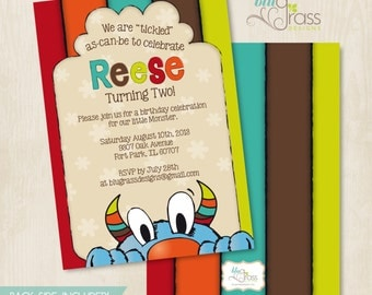 Custom Birthday Party Invitation by BluGrass Designs - Tickle Monster Inspired