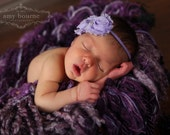 Violet Lavender Purple Vintage Inspired Shabby Chic Mini Rose 2 Flower Headband. Skinny elastic headbands. Photography prop Gift Baby shower