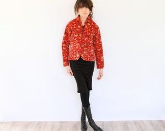 Quilted Cheongsam Jacket, Floral Print Velvet 70s Coat, boho hippie Chinese style lightly padded cropped outerwear, red with yellow flowers