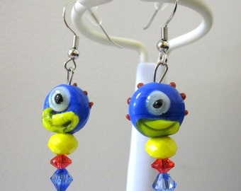 One Eyed Monster Earrings Lampwork Blue Yellow Red