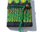 EMBROIDERED JOURNAL COVER - Textile Art - Book Cover - Citrus Emerald