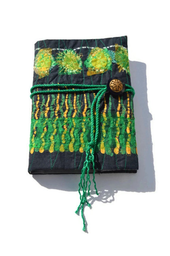 Embroidered journal cover textile art book citrus