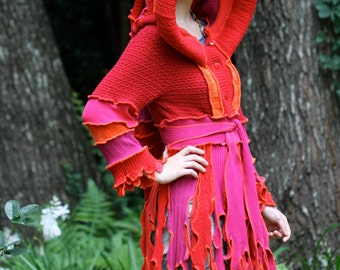 Made to order  Super Cute Upcycled Recycled Sweater coat  Pixie Festival Elf Faery Nymph Kaleidoscope Anemone