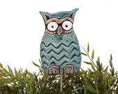 Owl garden art - plant stake - garden decor - owl ornament  - ceramic owl - large - aquamarine