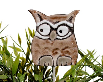 Owl garden art - plant stake - garden decor - owl ornament  - ceramic owl - small - brown