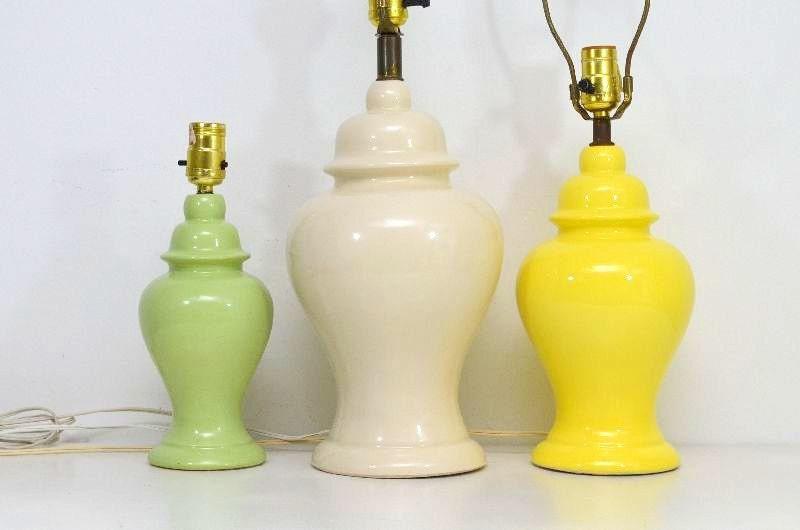 Vintage Ginger Jar Table Lamp Light Sage Green