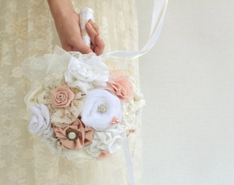 White blush wedding bouquet custom bouquet DEPOSIT