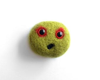 Felt Zombie Pheeple Brooch - Needle Felted Green Monster Jewellery Pin