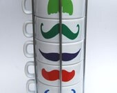 Multi Color Mustaches on White Coffee Mugs - set of 6 stackable mugs and chrome holder