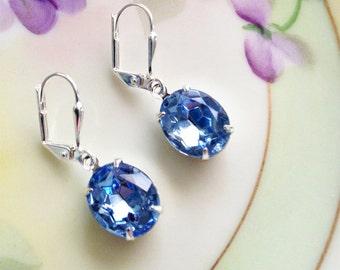 Sapphire Blue Earrings Vintage 50's Light Sapphire Blue Glass Rhinestone Dangle Earrings Estate Style Prom Wedding Bridesmaid Jewelry