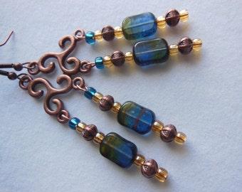 Golden blue  on copper, chandelier earrings E472