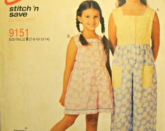 Easy Stitch 'n Save 9151, Girl's Jumpsuit and Rompers Pattern, Sizes 7, 8, 10, 12, 14