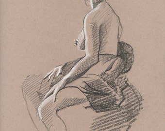 Draped Nude #2 - Original Charcoal Pencil Drawing from Life Model